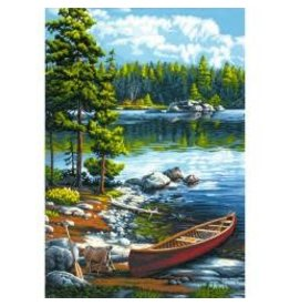 "Paint Works Paint By Number Kit 14""X20"" Canoe By The Lake"
