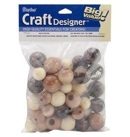 Large Wood Beads Assorted 45/Pkg Earth Tones