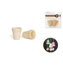 Wood: 3.5cmx4cm Mini Flower Pots x2 Natural