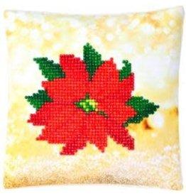 """Diamond Dotz Diamond Embroidery Pillow Facet Art Kit 8""""X8"""" Poinsettia Pillow"""