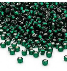 Seed bead, Dyna-Mites, glass, silver-lined translucent dark green, #8 round. Sold per 40-gram pkg.