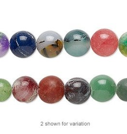 """Bead, Malaysia """"jade"""" (quartz) and mountain """"jade"""" (dolomite marble) (dyed), multicolored, 9-10mm round, D grade, Mohs hardness 3 to 7. Sold per 15-inch strand."""