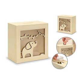 "4.6""x4.81""x2.56"" Diy Scenic Piggy Bank w/Bottom Cap - C) Elephant"