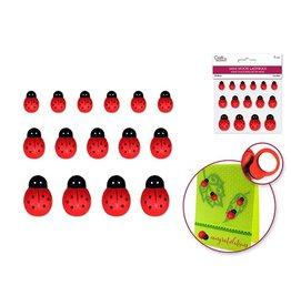 """1/2""""-1"""" Mini Wood Ladybugs x15 Peel-n-Stick"""