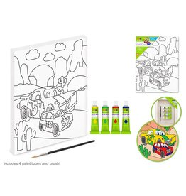 "Krafty Kids Kit: 7.13""x9.5"" DIY Artist Canvas w/4 Paints+Brush - Car"