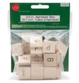 "Wood Alphabet Tiles .75"" 60/Pkg Uppercase"