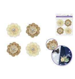 "Paper Craft Emb: 2"" Burlap & Lace Flower w/Pearl Florette x4 Self-Adhesive - Daisy"