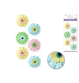 40mm Embossed Layered Handmade Paper x6 w/Gems -Luau