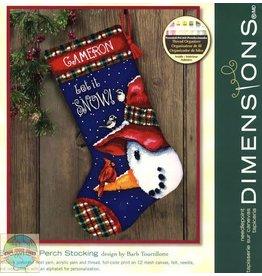 "Dimensions Dimensions 16"" Snowman Perch Stocking"