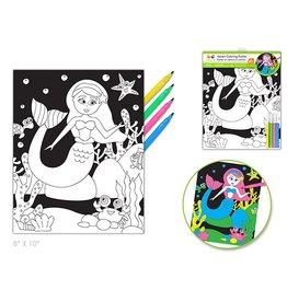 Velvet DIY Coloring Poster w/4markers Mermaid