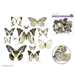 Paper Craft Emb: Butterfly Die Cuts w/Foil Accents x33  White
