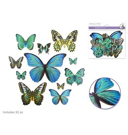 Paper Craft Emb: Butterfly Die Cuts w/Foil Accents x33  Blue