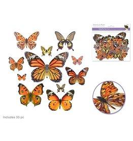 Paper Craft Emb: Butterfly Die Cuts w/Foil Accents x33 Orange