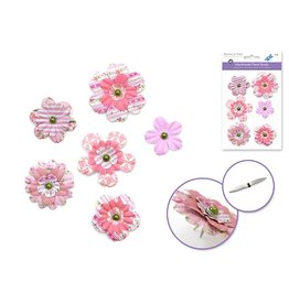 3D Paper Flowers with Pearl Brads x6 Pretty