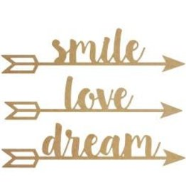 """Beyond The Page MDF Arrow Words Wall Art Smile Dream Love, 20.25""""X5"""""""