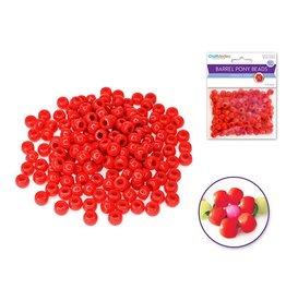 Pony Beads: 9mmx6mm Barrel Standard x175 - Red