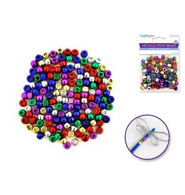 Pony Beads: 9mmx6mm Barrel Metallic x150 - Multi-Mix