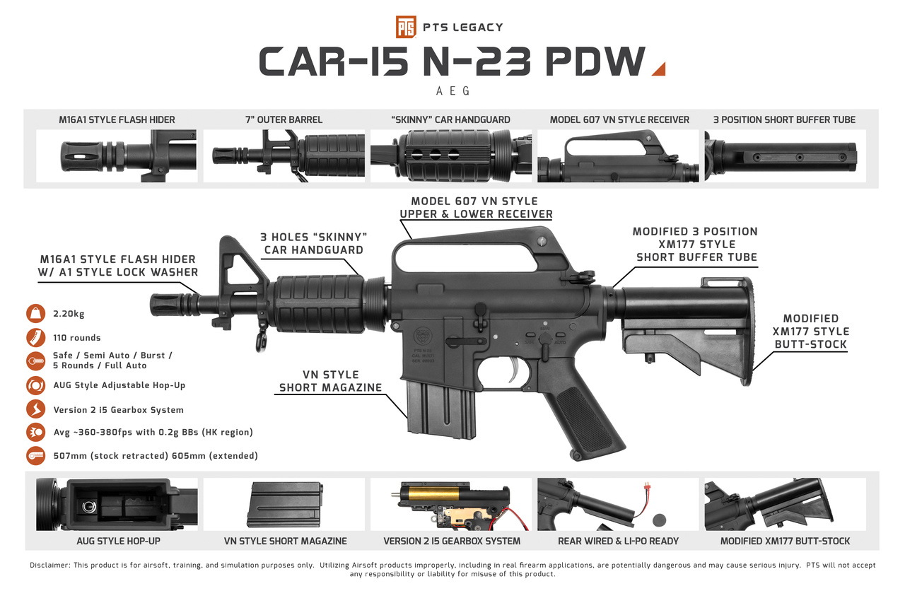 PTS PTS Legacy CAR-15 N-23 PDW