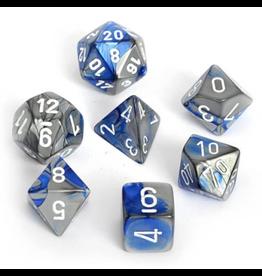 Chessex Ensemble de 7 dés - Gemini - Bleu-Acier/Blanc [CHX26423]