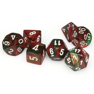 Chessex Ensemble de 7 dés - Gemini - Vert-Rouge/Blanc [CHX26431]