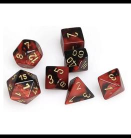 Chessex Ensemble de 7 dés - Gemini - Noir-Rouge/Doré [CHX26433]