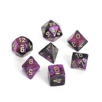 Chessex Ensemble de 7 dés - Gemini - Noir-Violet/Doré [CHX26440]