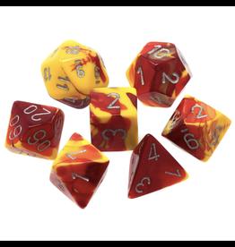 Chessex Ensemble de 7 dés - Gemini - Rouge-Jaune/Argent [CHX26450]