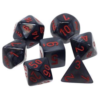 Chessex Ensemble de 7 dés - Velvet - Noir/Rouge [CHX27478]