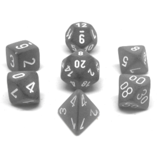 Chessex 7-die set - Frosted - Smoke/White [CHXLE431]