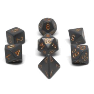 Chessex Ensemble de 7 dés - Opaque - Gris/Cuivré [CHX25420]