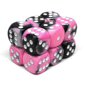 Chessex Brique de 12 dés - Gemini - Noir/Rose [CHX26630]