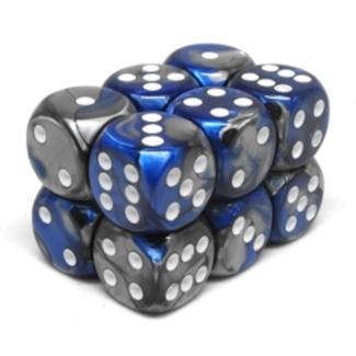 Chessex Brique de 12 dés - Gemini - Bleu-Acier/Blanc [CHX26623]