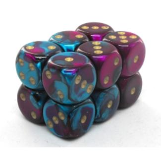 Chessex Brique de 12 dés - Gemini - Violet-Sarcelle/Doré [CHX26649]