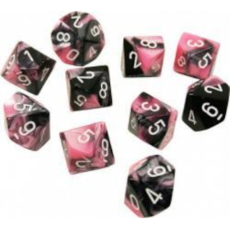 Chessex 10d10 Dice set - Black-Purple/White[CHX26230]