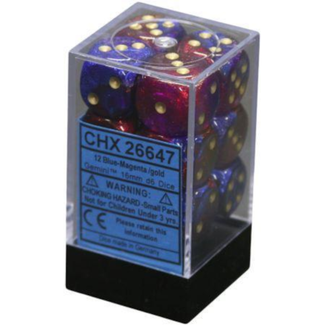 Chessex 12-die Block - Gemini - Blue-Magenta/Gold [CHX26647]