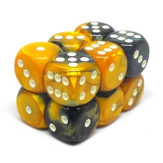 Chessex Brique de 12 dés - Gemini - Masquerade-Jaune/Blanc [CHX26660]