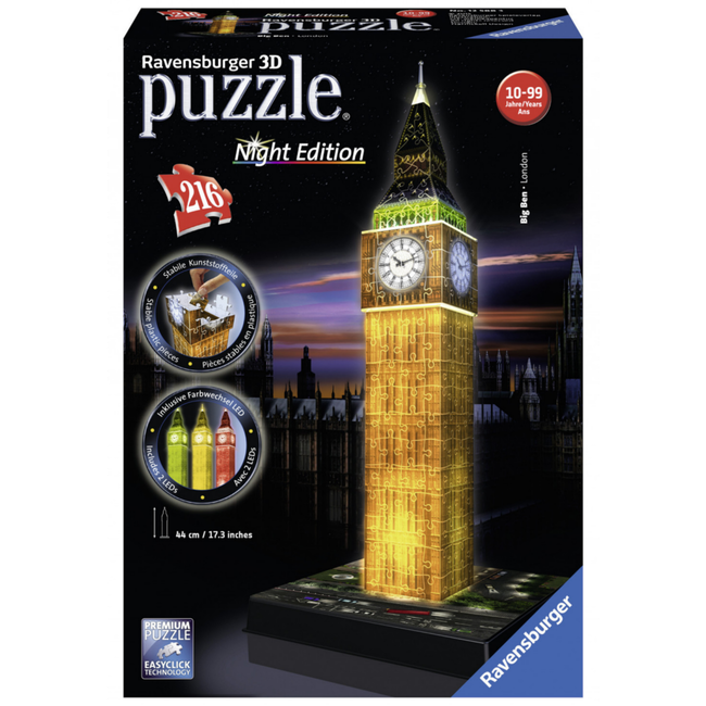 Ravensburger Big Ben Night Edition - 3D (216 pieces)
