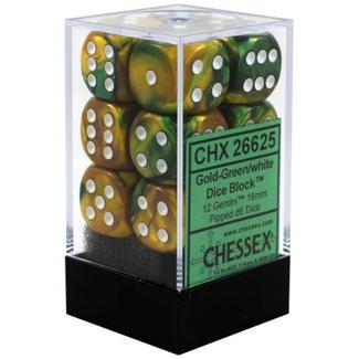 Chessex Brique de 12 dés - Gemini - Or-Vert/Blanc [CHX26625]