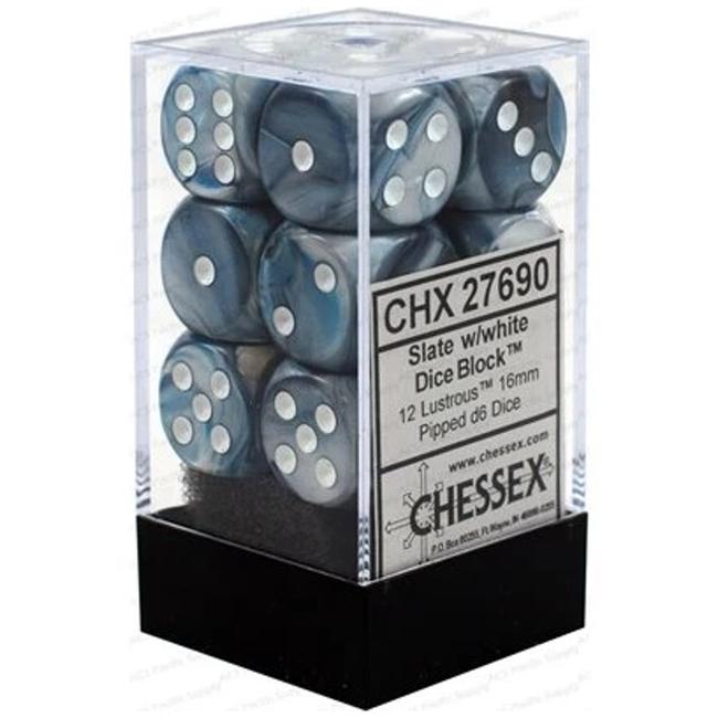 Chessex Brique de 12 dés - Lustrous - Ardoise/Blanc [CHX27690]