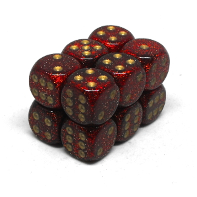 Chessex Brique de 12 dés - Pailleté - Rubis/Doré [CHX27704]