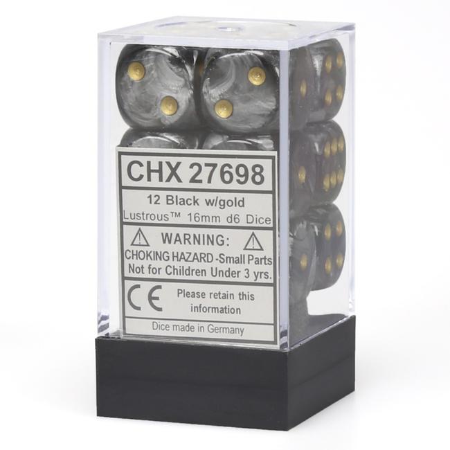 Chessex 12 Dice Block - Lustrous - Black/Gold [CHX27698]