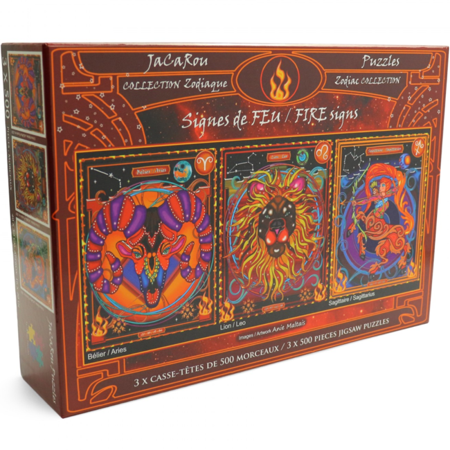 JaCaRou Puzzles FIRE Signs (3 x 500 pieces)