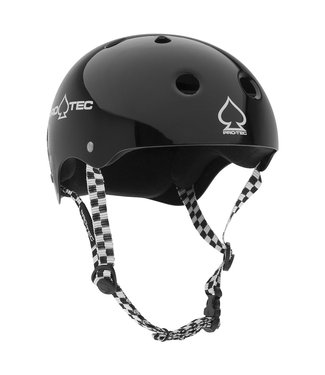 PROTEC HELMET CLASSIC SKATE GLOSS BLACK WITH CHECKER SMALL