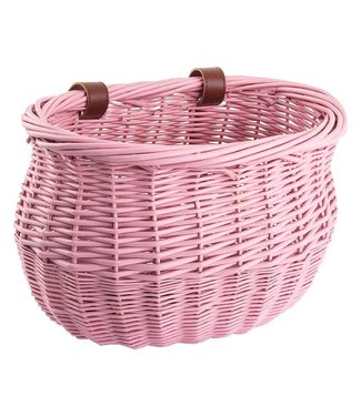 BASKET FRONT WILLOW BUSHEL PINK STRAP-ON 13x8x9
