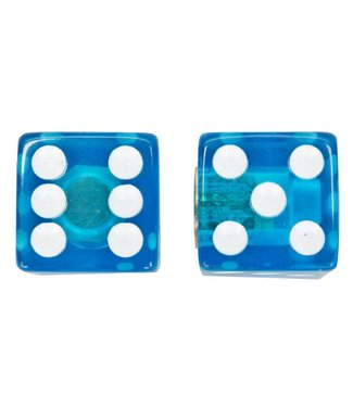 TRIK VALVE CAPS  DICE CLEAR BLUE