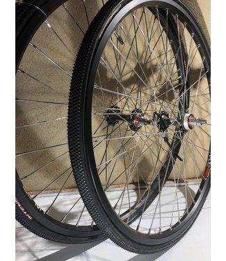 bullet proof WHEEL SET 24 x 1 1/8 BLACK W/TIRES AND TUBES