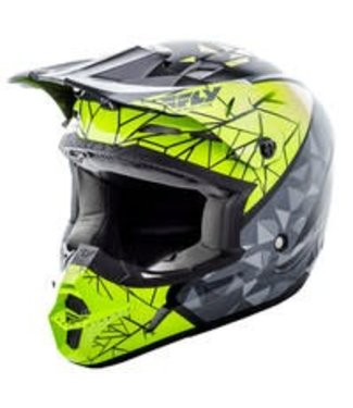 FLY RACING KINETIC CRUX HELMET BLACK/GREY/HI-VIS YM