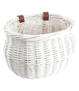BASKET WILLOW BUSHEL WHITE STRAP-ON 13x8x9