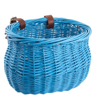 BASKET FRONT WILLOW BUSHEL BLU STRAP-ON 13x8x9