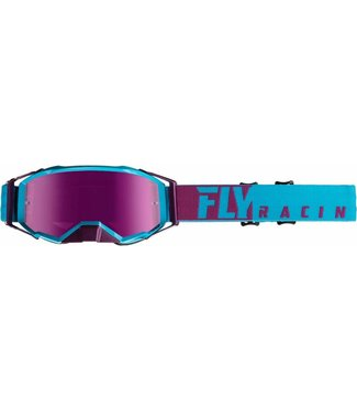 FLY RACING ZONE PRO GOGGLE BLUE/PORT W/PINK MIRROR LENS W/POST